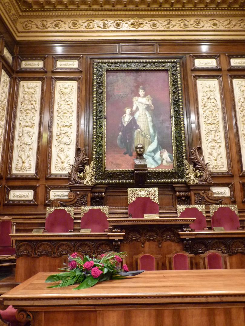 Retrato de la Reina Regente Dª Mª Cristina con el Infante Alfonso.