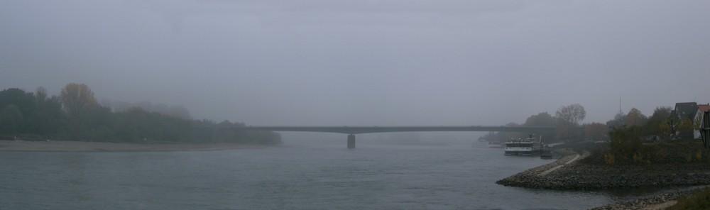 Rheinbrücke Bei Speyer im Morgennebel