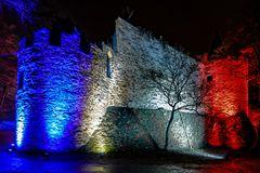 Rheinleuchten 2016 - Burg Lahneck, französische Mauer
