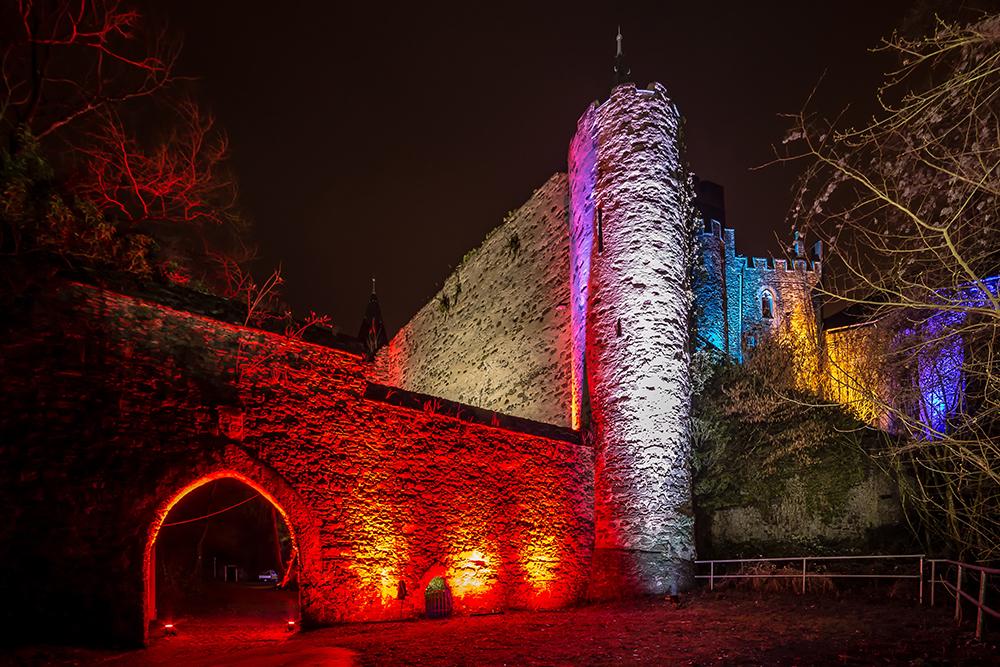 Rheinleuchten 2016 - der Eingang zur Burg Lahneck