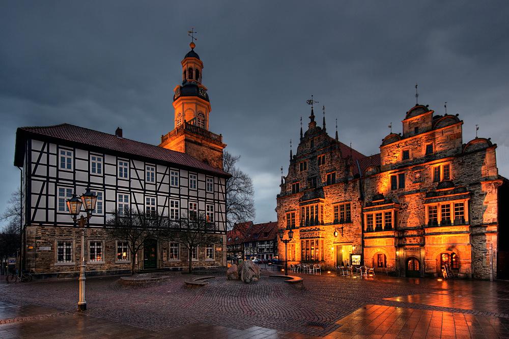 Rinteln - Marktplatz im Regen