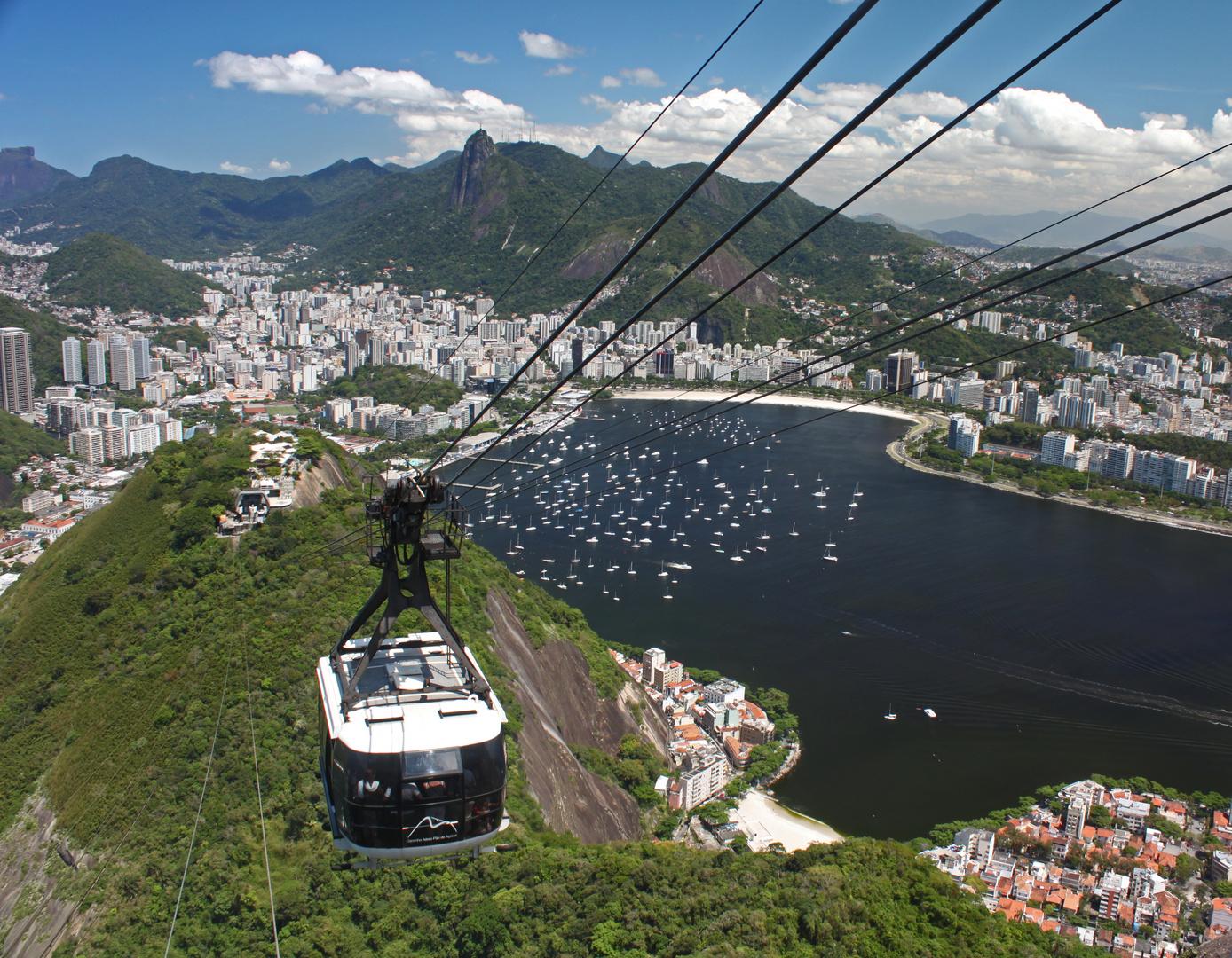 Rio De Janeiro Stadtteil Urca Vom Zuckerhut Aus Gesehen Foto