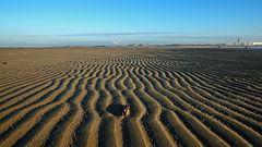 Rippelmarken auf der vorgelagerten Sandbank vor dem Borkumer Hauptstrand