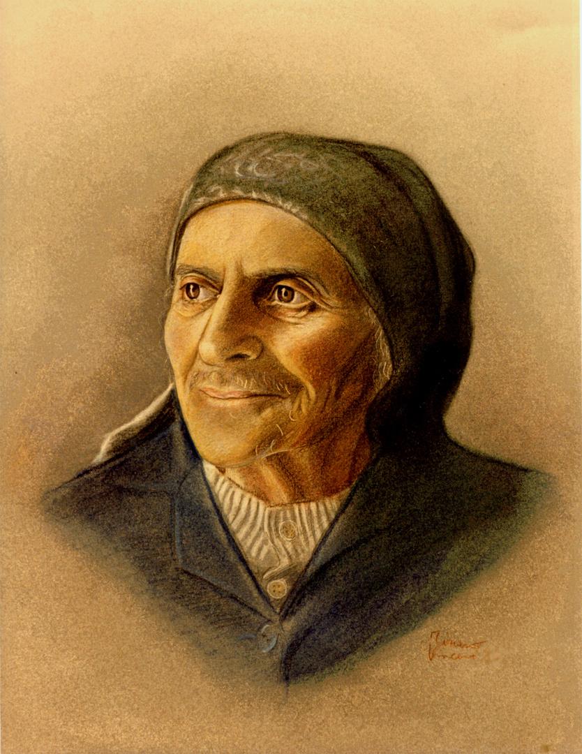 Disegni Di Persone Anziane.Ritratto Di Vecchia Disegno A Matita Pastello Foto