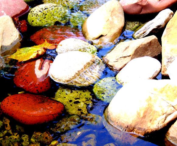 rocks under a fountain