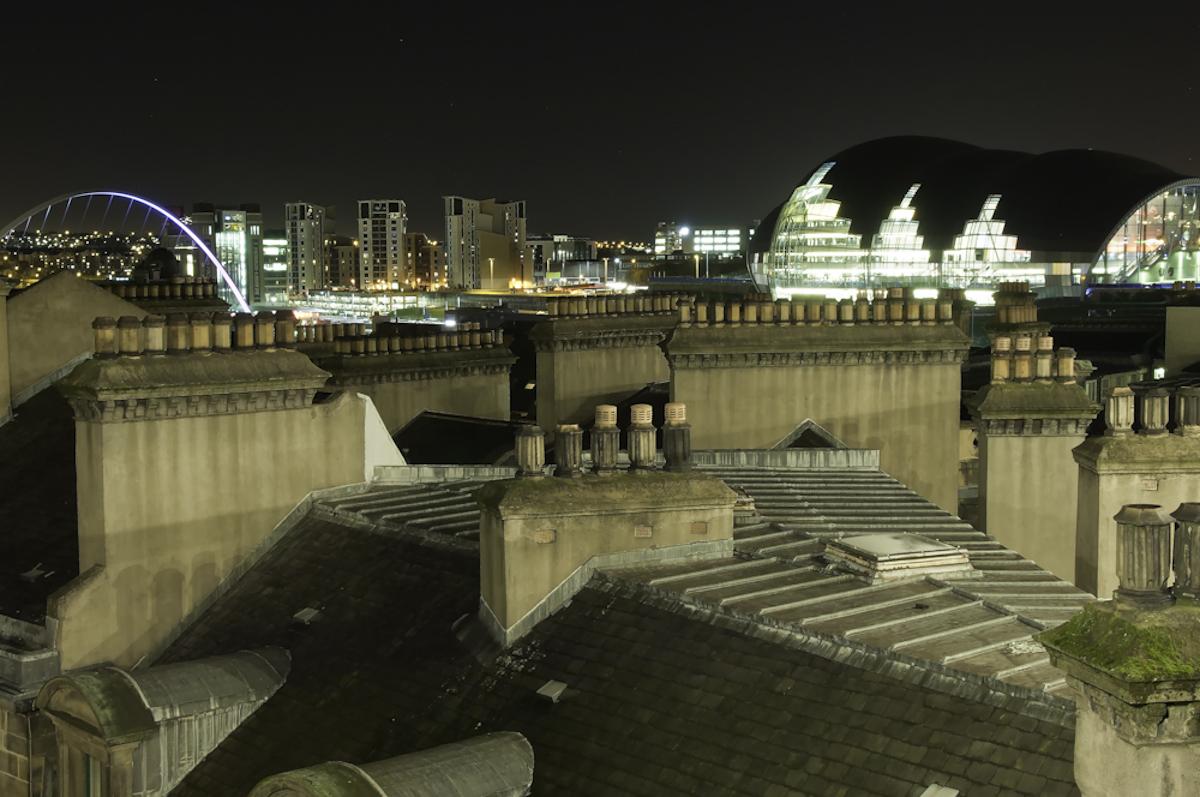 Roof tops.