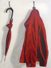 rote Jacke mit schirm
