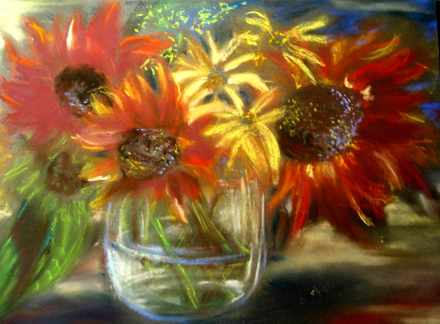 Rote Sonnenblumen