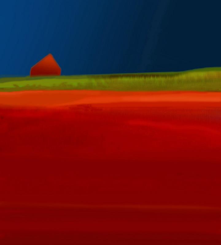 Rotes Feld mit Haus