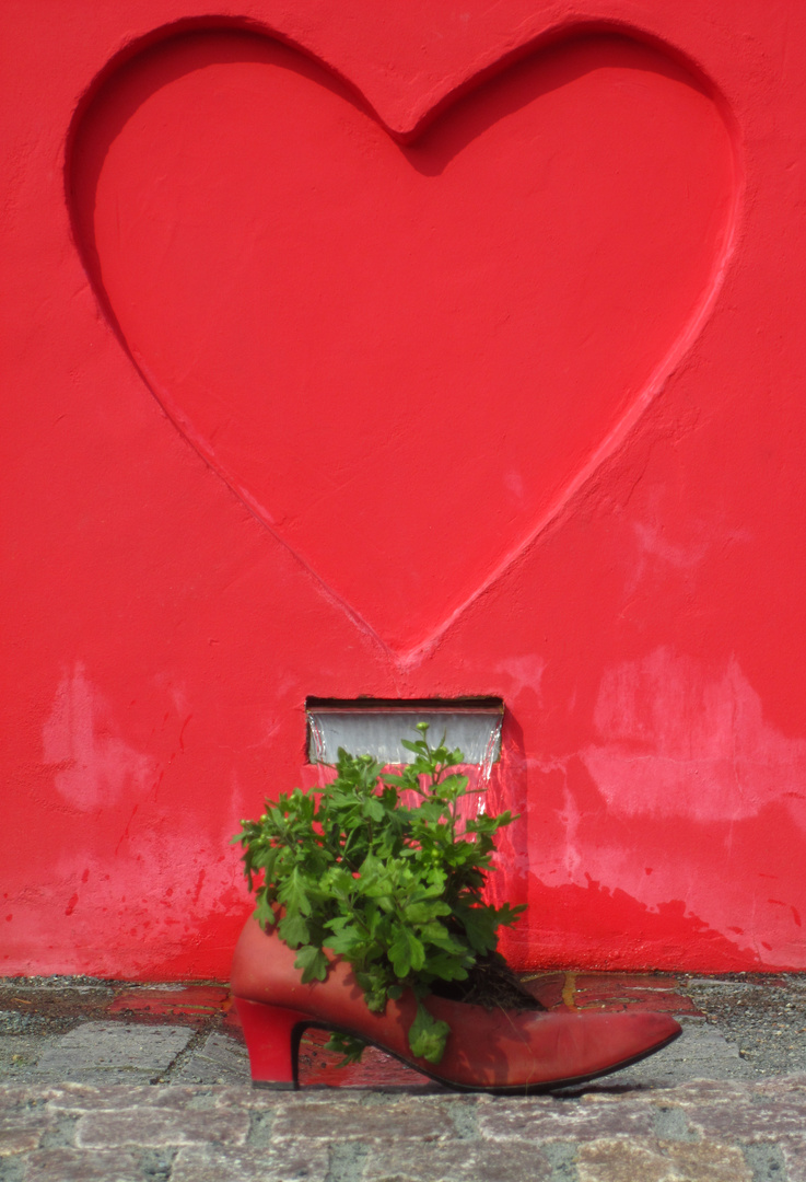 Rotes Herz auf Rotem Grund mit Pflanze