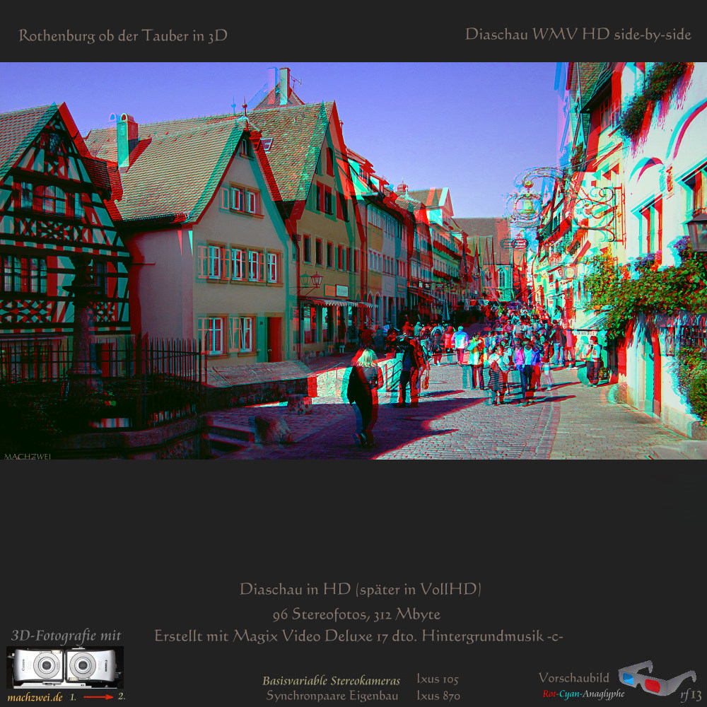 Rothenburg ob der Tauber in 3D: Diaschau mit 96 Stereofotos in HD