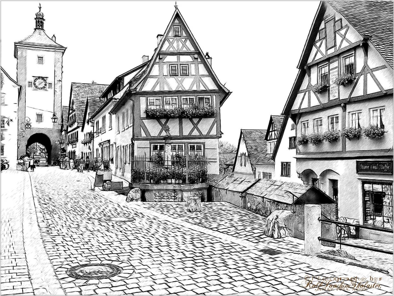 ''Rothenburg ob der Tauber,Siebertor am Plönlein''