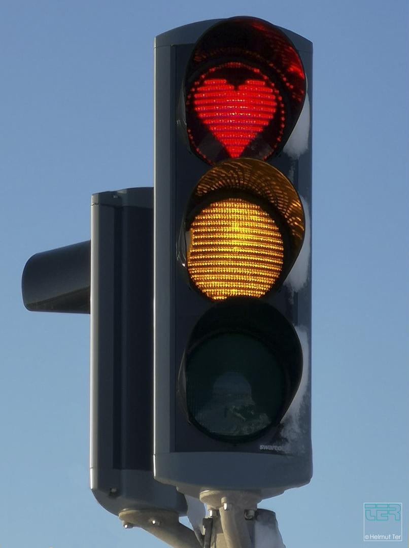 Rotlicht  -  Ampel mit Herz