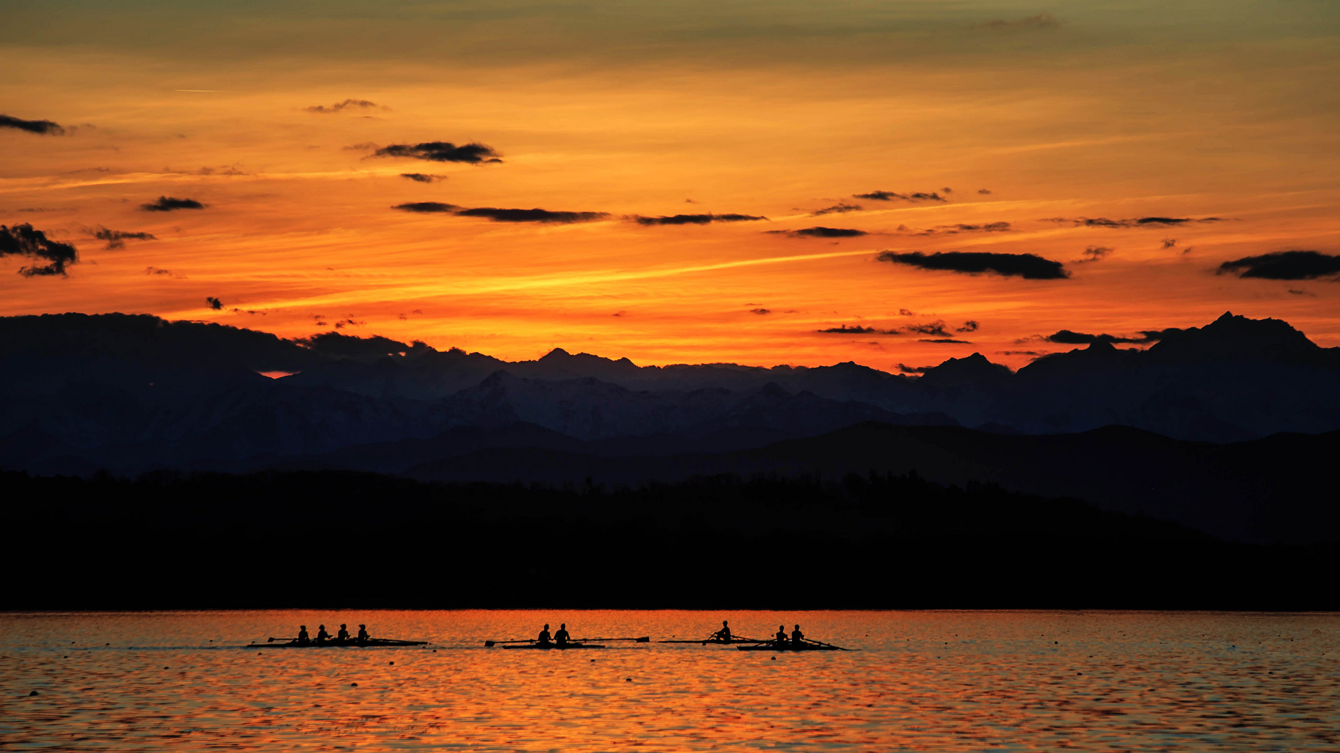 Rowing in the sunset ...