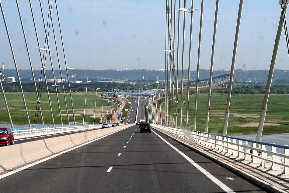 "Rückreise über ""Le Pont de Normandie"" (Brückenabfahrt)"