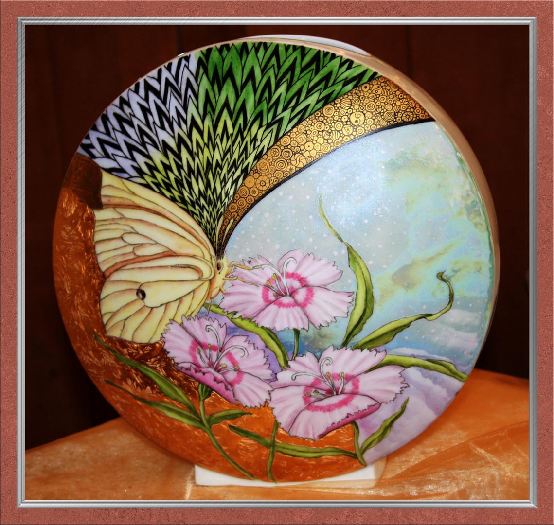 Runde Vase - Handgemalt