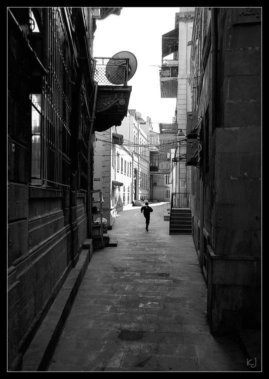 Runner in old city