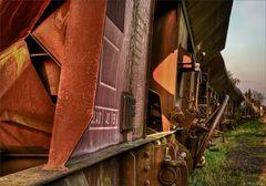 rusty train in the evening sun