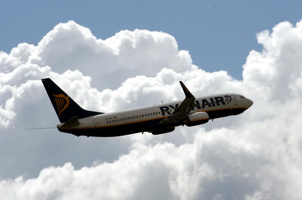 Ryanair in the blue sky