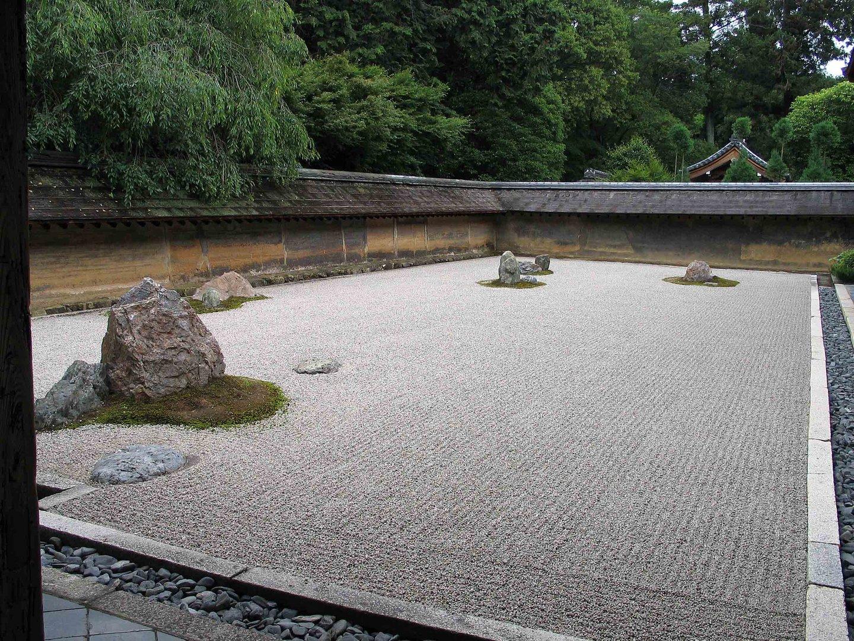 ryoan ji japanischer zen garten bei kyoto foto bild. Black Bedroom Furniture Sets. Home Design Ideas