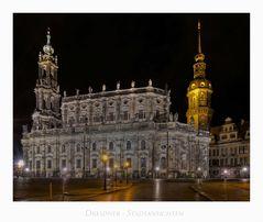 """Sächsische Impressionen """" Dresden - die Hofkirche, bei Nacht... """""""