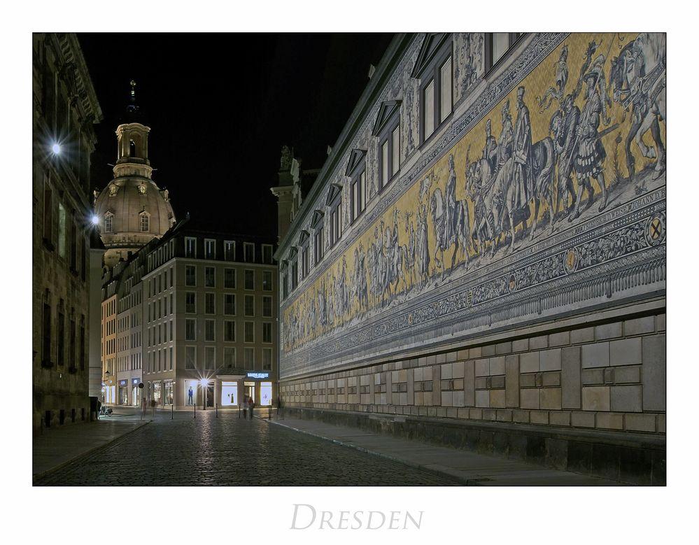 """Sächsische Impressionen """" Dresden - Fürstenzug bei Nacht..."""""""