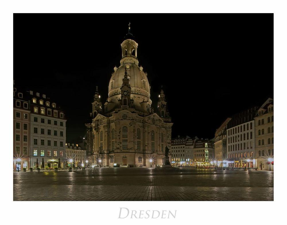 """Sächsische Impressionen """" Dresden -Neumarkt, bei Nacht..."""""""