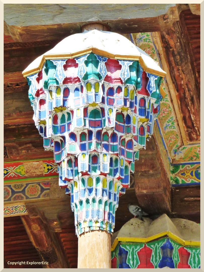 Säulenkopf an Vorhalle Freitagsmoschee Iman Bala Haus, Buchara