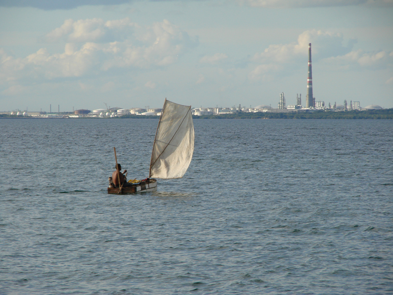 Sailing in self-made boat