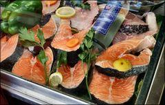 Salmon in window shop
