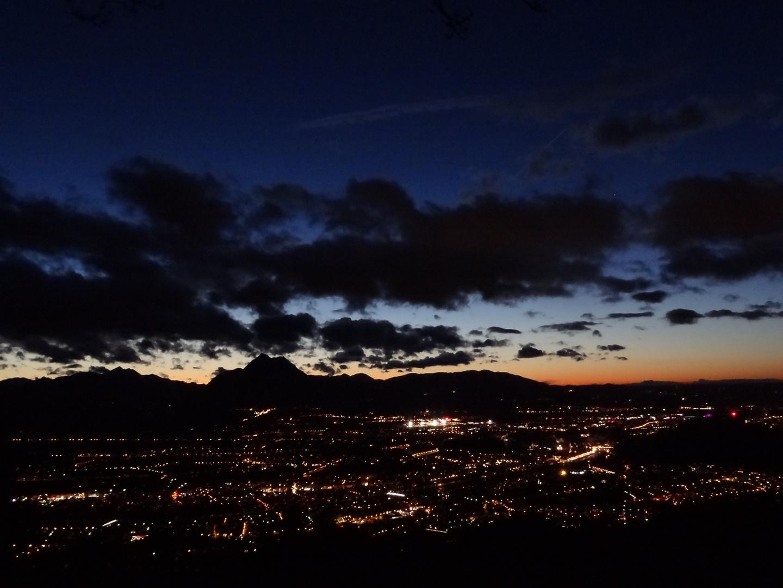 Salzburg city at night