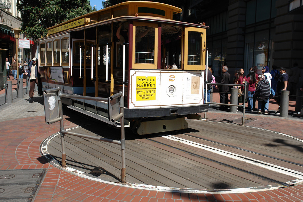 "San Francisco , Cable Cars , Nr. 3 : Die "" Bergstation "" , mit Drehscheibe ....."