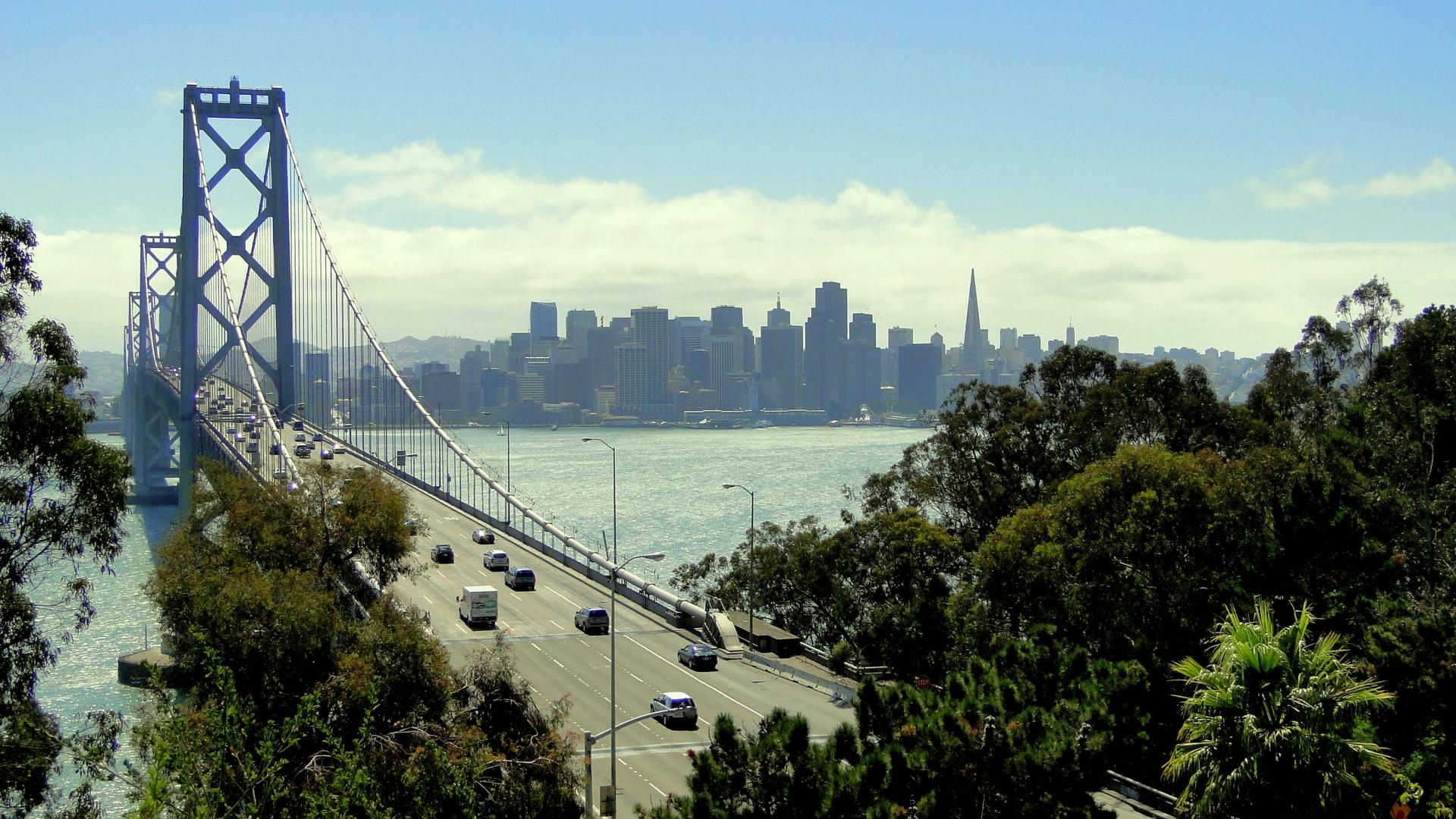 San Francisco / Oakland Bay Bridge & SF Downtown..