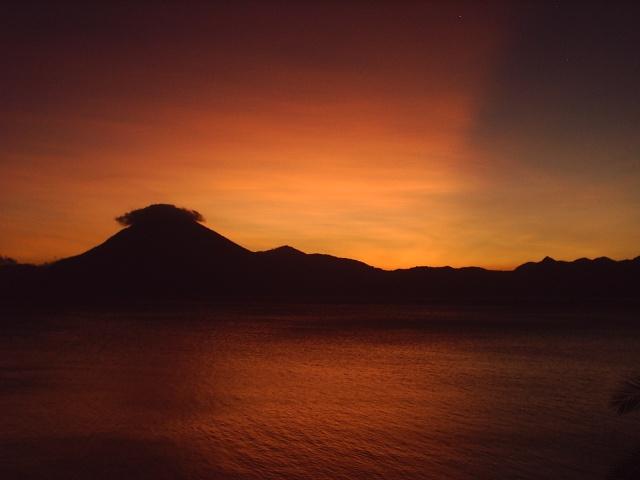 San Pedro Volcan at sunset, Lake Atitlan