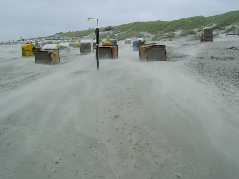 Sandsturm am Juister Strand