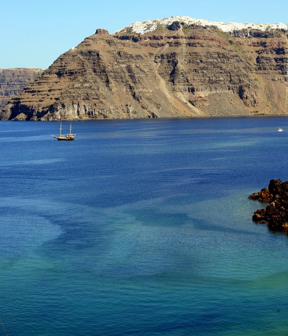 Santorini view from Nea Kameni