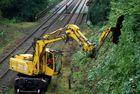 Schienenbagger kurz vor Haltestelle Schaberg in Solingen