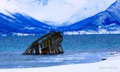Schiffswrack von Tisnes im Winter