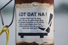 Schild auf dem Holm in Schleswig