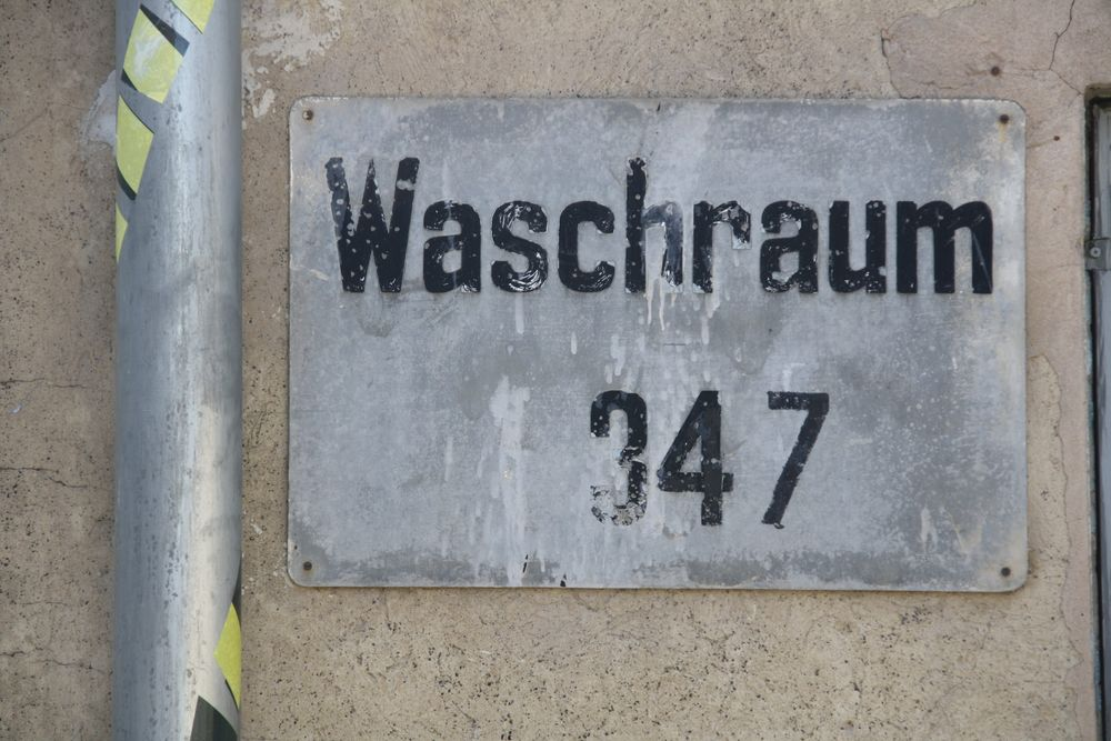 Schild Waschraum Völklinger Hütte Weltkulturerbe