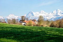 Schloss Amsoldingen mit Berneralpenkette