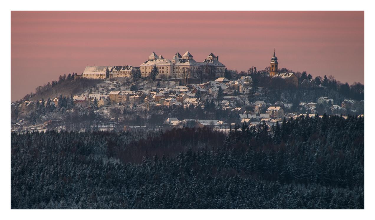 Schloss Augustusburg in der Morgendämmerung