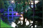 Schloss Dyck - Illunina - beleuchtete Brücke