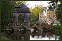 Schloss Dyck - Lichterfest - Brücke mit Schloss