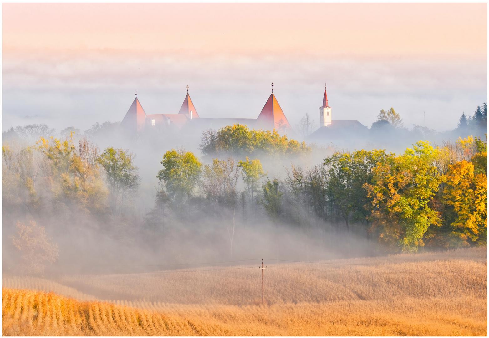 Schloss im Herbstnebel