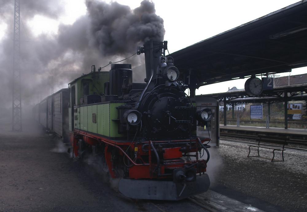 Schmalspurbahnen - der Grundwurm im Bahnhof Radebeul/Ost