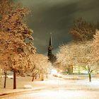 schnee in zürich bei nacht