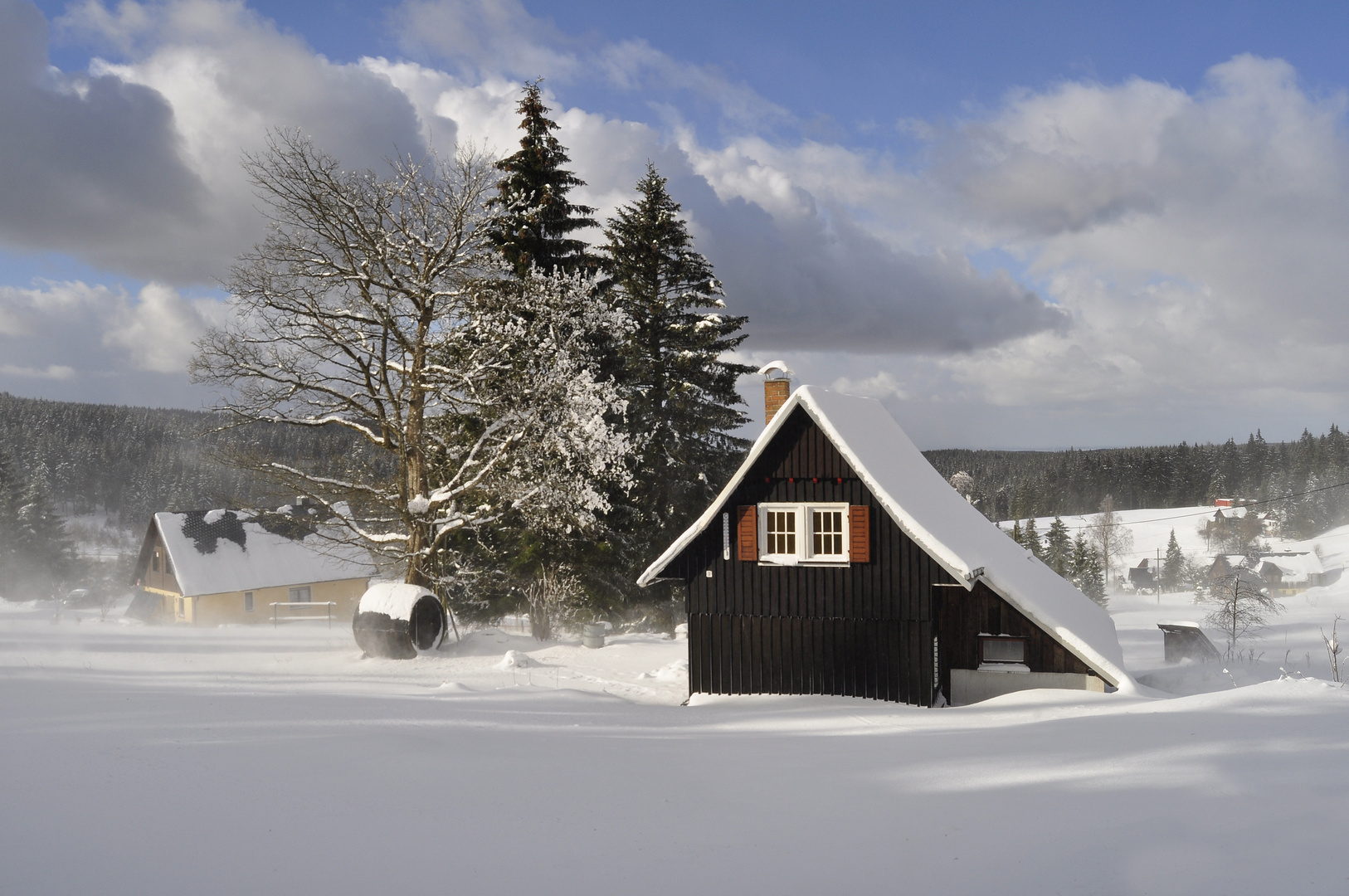 Schneefegen in Mühlleithen