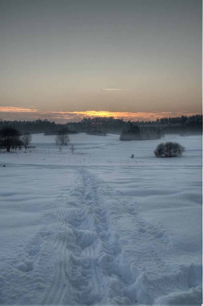 Schneelandschaft in Dämmerung