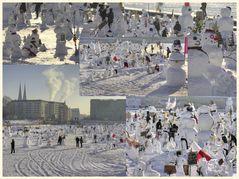 schneemänner gegen die klimaerwärmung auf dem schloßplatz in berlin